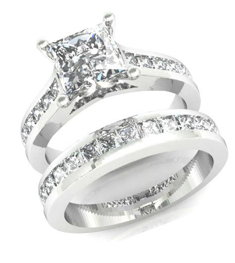 ct princess cut channel set engagement ring wedding