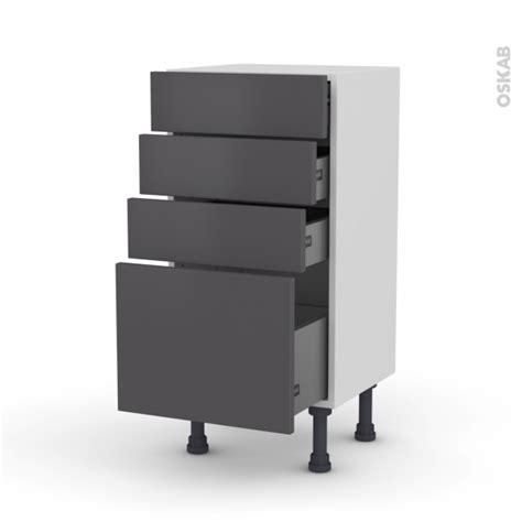 meuble bas cuisine gris meuble de cuisine bas ginko gris 4 tiroirs l40 x h70 x p37