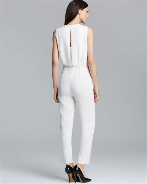 all white jumpsuit for theory jumpsuit remaline spiaggia in white lyst