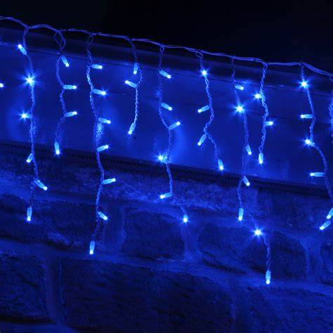100 led blue icicle lights connectable for outdoor use lights4fun co uk