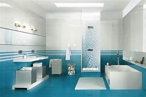 decoration salle de bain bleu et blanc With salle de bain bleu et blanc