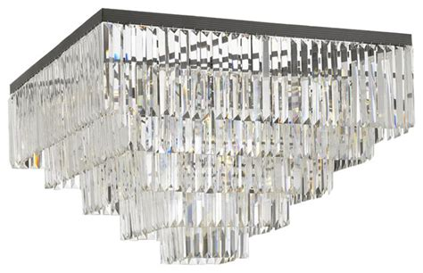 Retro Odeon Crystal Glass Fringe 5 Tier Flush Mount