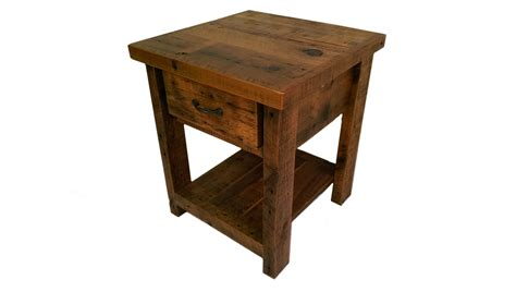 barn wood tables for reclaimed barn wood end table with one drawer and shelf