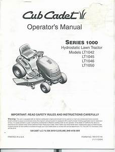 Cub Cadet Operators Manual Series 1000 Lt1042 Lt1050