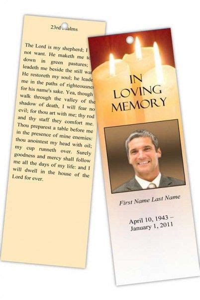 sacred candles memorial bookmark template bookmark