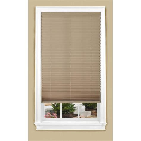 lowes l shade shop allen roth 35 in w x 64 in l camel light filtering
