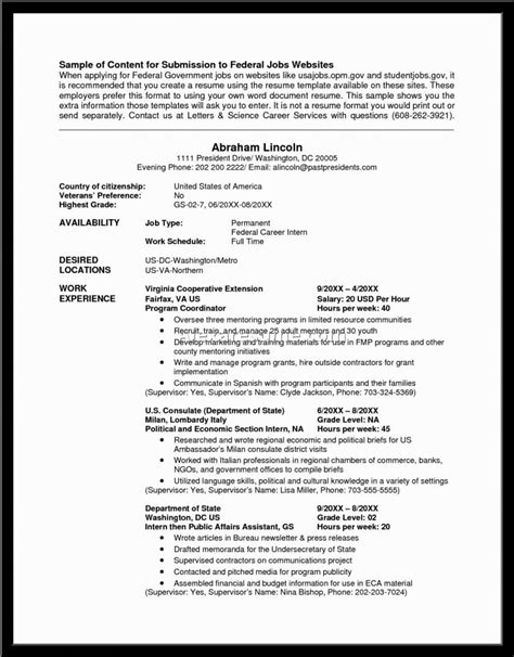 Template For Writing A Federal Resume by Usajobs Federal Resume Writing