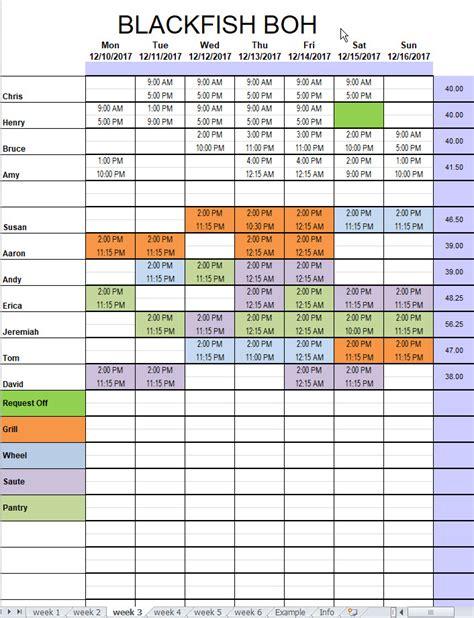restaurant kitchen schedule template excel chefs resources