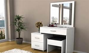Coiffeuse Meuble Noir : coiffeuse blanche et tabouret groupon ~ Farleysfitness.com Idées de Décoration
