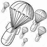 Bombs Bomb Vector Sketch Nuclear Parachutes Illustration Explosion Drawing Gravity Parachute Doodle Atomic Pages Background Coloring Depositphotos Fuse sketch template