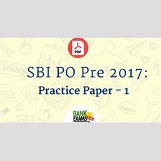 Sbi Po Pre 2017 Practice Paper  1 Bankexamstoday