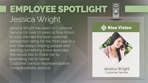 employee spotlight template rise vision digital signage store