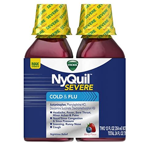 nyquil vicks cold flu severe relief nighttime liquid oz berry fl cough flavor sleep pack twin zzzquil aid syrup 2x12