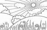 Paisagens Colorir Desenhos Coloring Sol Colorare Dibujar Coloriage Desenhar Paisajes Ligne Como Paisaje Imagens Naturais Primaverile Landscape Dibujos Primavera Hacer sketch template