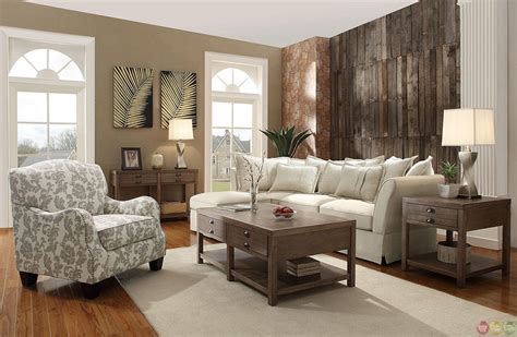 country cottage style living room with beige walls and
