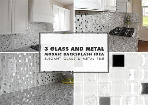 Metal And Glass Tile Backsplash : White Glass Metal Backsplash Tile Luna Pearl