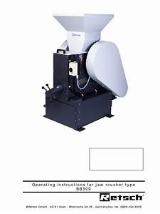 Operating Instructions For Jaw Crusher Type Bb300