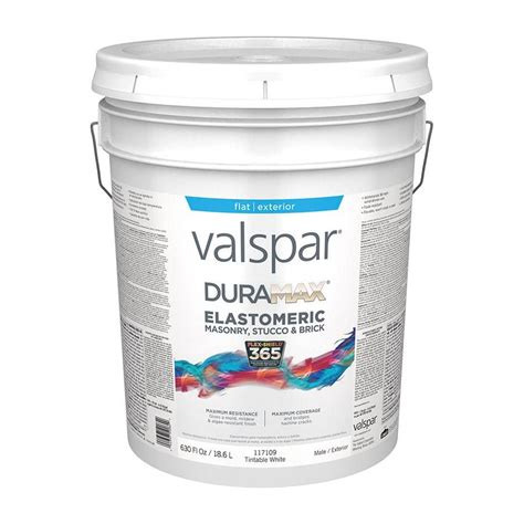 valspar duramax flat masonry and stucco elastomeric tintable white exterior paint actual net