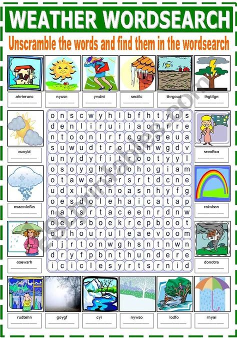 weather wordsearch worksheet vocabulary worksheets