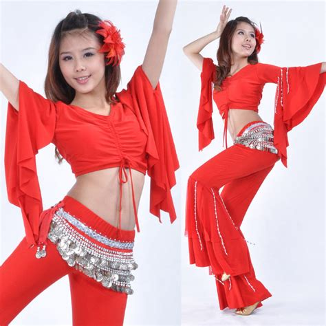 New Belly Dance Costume Hanging Beads Speaker Sleeve Blouse Top 9 Colours | eBay
