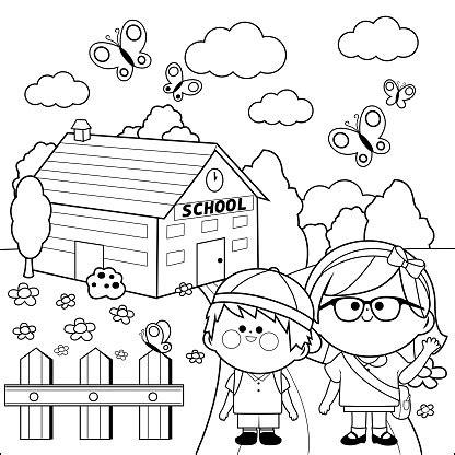 children  school black  white coloring book page