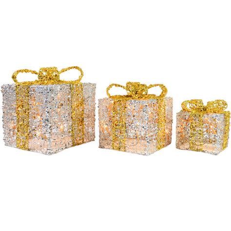 3 x festive glittery light up gift boxes
