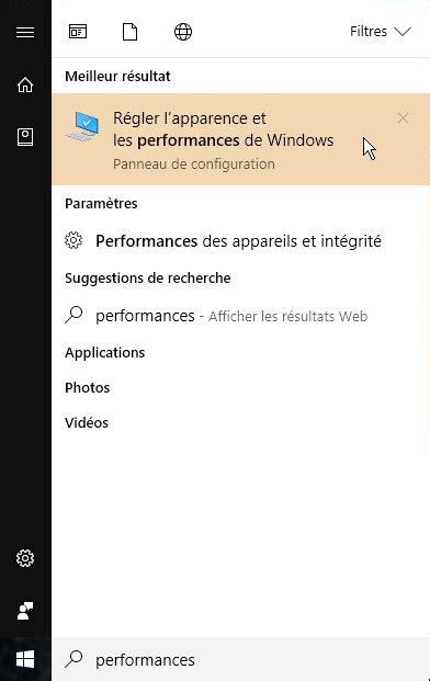 performances du bureau pour windows aero windows 10 taille des icônes et ombrage du texte sur le