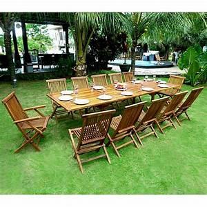 Salon Jardin Teck : ensemble de jardin en teck huil mobilier de jardin table 3 metres ~ Teatrodelosmanantiales.com Idées de Décoration