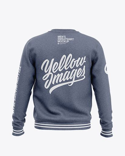 Png images 360° creative fonts. Mens Heather Crew Neck Sweatshirt Back View Jersey Mockup ...