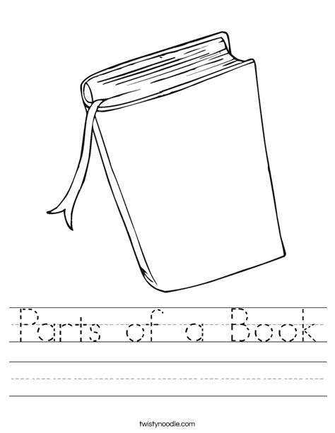parts of a book worksheet twisty noodle