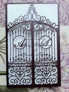 laser cut wedding invitation die cut monogram iron gate With laser cut wedding invitations with initials