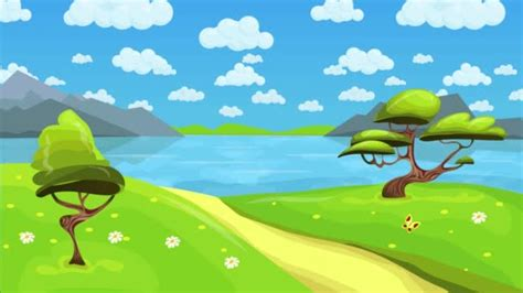 Animated Lake Wallpaper - animated tale lake landscape with clouds in the sky