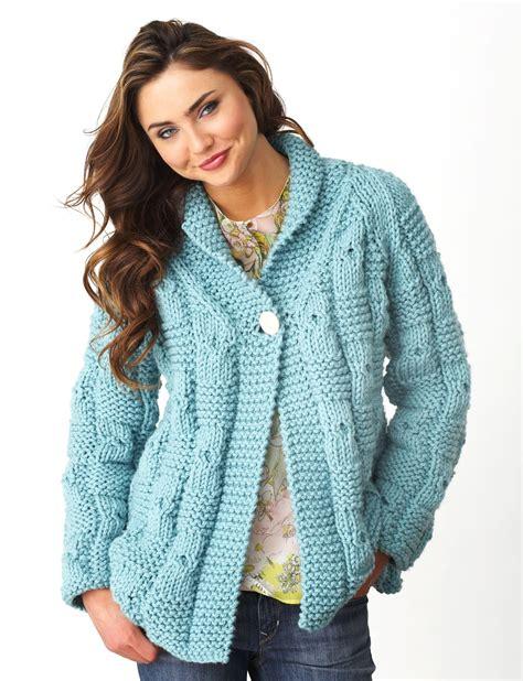 sweater knitting pattern bernat textured checks cardigan knit pattern yarnspirations