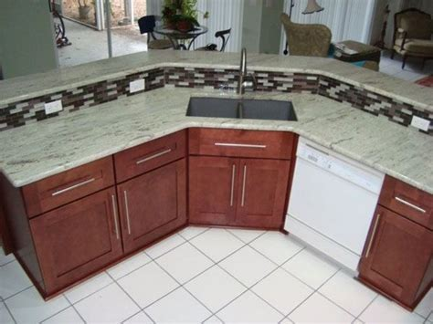 Two Level Green Granite Counter Top And Bar With Custom