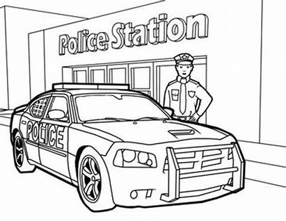 Colouring Printable Police Officer Drawing Children Primary