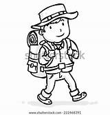 Hiking Cartoon Backpack Traveler Outline Stick Hitchhiker Vector Coloring Sketch Shutterstock Template Drawn Illustration sketch template