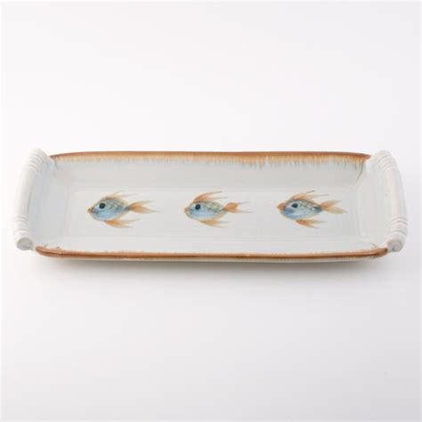 sushi serving tray ivory fish georgetown pottery