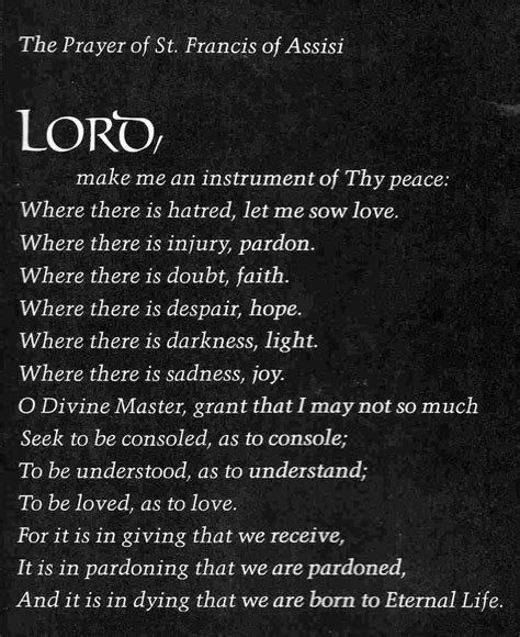 prayer of francis of assisi prayer of st francis of assisi words