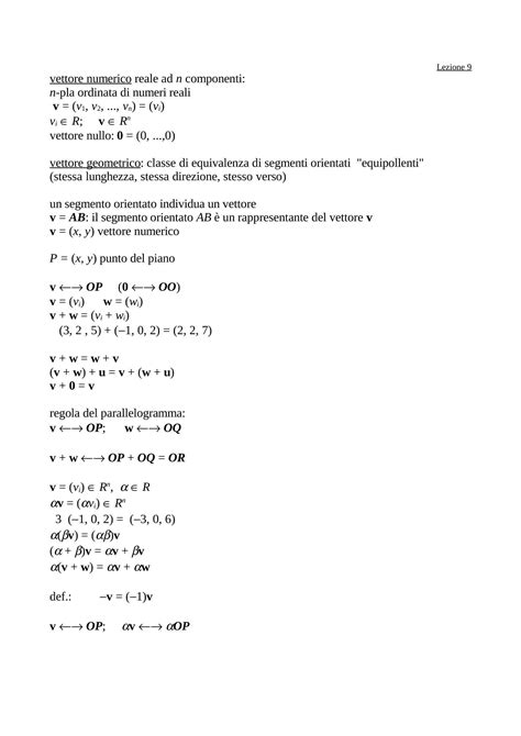 dispense matematica generale vettori numerici dispense