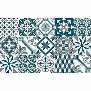 Tapis Salon Bleu Canard : tapis vinyle carreaux de ciment ginette bleu canard ciment factory maison tiles home ~ Melissatoandfro.com Idées de Décoration