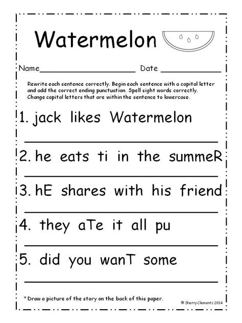 Summer  Fix It Up Sentences (july)  Summer, Student And