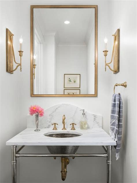 rectangular gold mirror  marble sink vanity