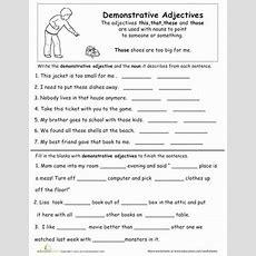 Demonstrative Adjectives  Worksheet Educationcom