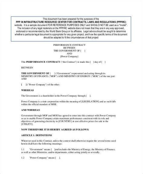 12 performance contract sles templates in pdf word docs