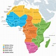 Africa regions map with single countries   BlackDoctor.org