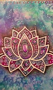 Colorful Zentangle lotus flower. Acrylic , oil and ink on ...