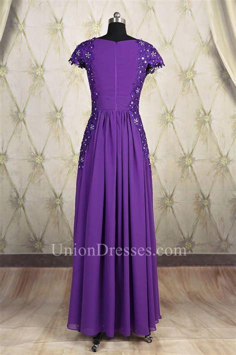 Modest Sheath Square Neck Cap Sleeve Long Purple Chiffon ...