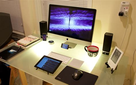 bureau apple wallpaper clean workspace apple computer desk office