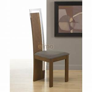 Chaise salle a manger design moderne bois massif et chrome for Salle À manger contemporaineavec chaise cuir design