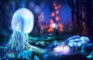 Mushroom forest at night by mayshing on DeviantArt